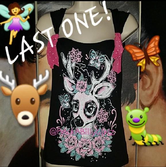 cc15ee33d07d87 Too Fast Tops | Sugar Skull Deer Top Pink Bows Tattoo Art | Poshmark